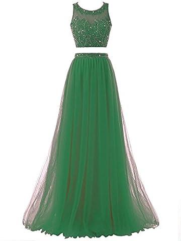 Solovedress Frauen Zwei 2 Stücke Perlen Lange Ballkleid Tüll Formal Abendkleid(grün, Eur50)