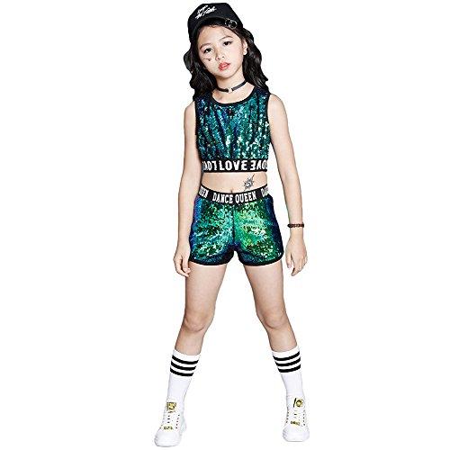 Hip-Hop-Jazz-Performance Kostüme Schule Tanz Kleidung gesetzt (Grün, 116/122) (Gute Halloween Kostüme Für Die Schule)