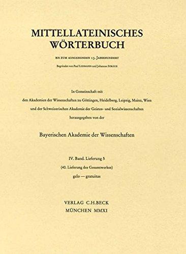 Mittellateinisches Wörterbuch  40. Lieferung (gelo - gratuitus)