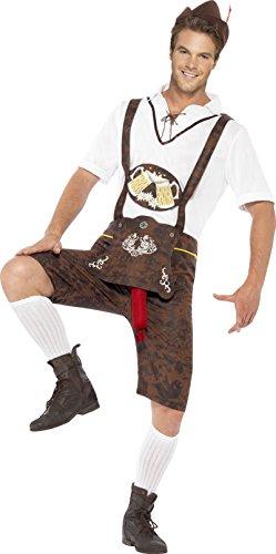 Smiffys, Herren Bratwurst Kostüm, Lederhose, Hemd und Hut, Größe: M, 43399