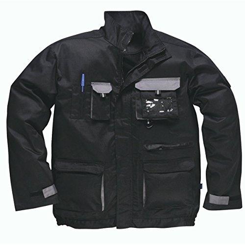 Portwest - Giacca da lavoro Texo con tasche multiple removibili e tasca per documento di riconoscimento con anello a D, taglia S - 3XL (XXXL), colore: blu reale grigio