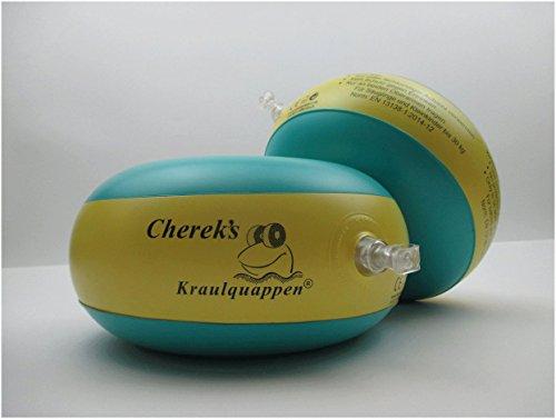 Cherek´s Kraulquappen 20cm für Anfänger grün/gelb Schwimmflügel Schwimmhilfe für Kleinkinder und Babys ab dem 7/8 Monat