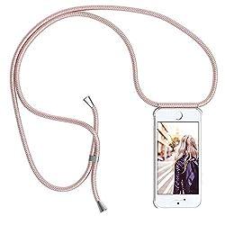 YuhooTech Handykette Kompatibel mit iPhone 7 / iPhone 8, Smartphone Necklace Hülle mit Band - Handyhülle mit Kordel Umhängenband - Schnur mit Case zum umhängen in Rose Gold