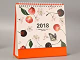 BANCN Exquisit 2018 Kreative Kirsche Muster Desktop Flip Kalender Monat zu Ansehen Stand Up Office Home Tisch Planer Kalender Notebook (Orange)