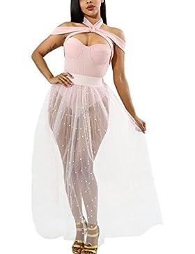 Vemubapis Mujer Solid Sheer Abalorios Malla Tutu Falda Club Wear
