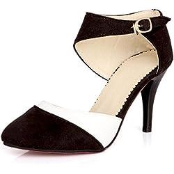 Minetom Mujer Boca Baja Cuero De Nubuck Tacones Altos Zapatos Color Del Encanto De Fina Tacón Alto Sandalias Boda Fiesta Negro EU 41