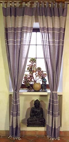 Guru-Shop Vorhang, Gardine aus Grob Gewebter Weicher Baumwolle (1 Paar Vorhänge, Gardinen) - Lila, Violett, 250x100 cm, Dekovorhänge