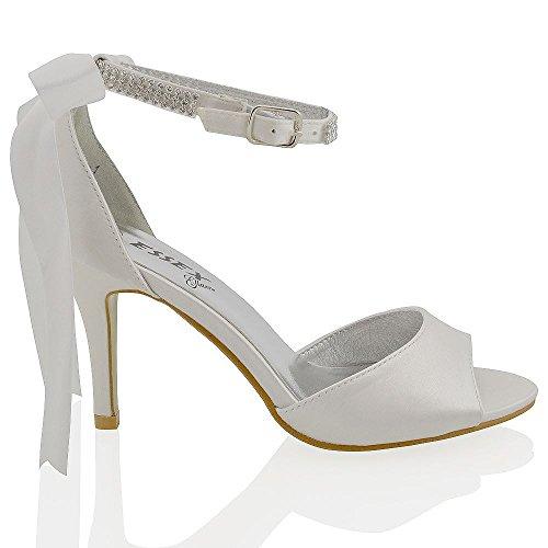 Essex Glam Sandalo Donna da Sposa Satin Tacco a Spillo Cinturino alla Caviglia Bianco in raso
