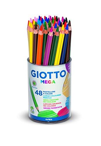 Giotto 518100 - Mega Maxi Pastelloni Colorati Barattolo 48 Pezzi