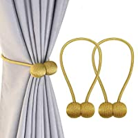 FDY 1 Pair Magnetic Curtain Tiebacks Decorative Rope Holdback Holder for Home Window Drapries Hooks