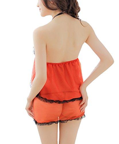 Dissa® Hot Ouvrir Lace Front détaillé Nuisettes Lingerie, orange Orange