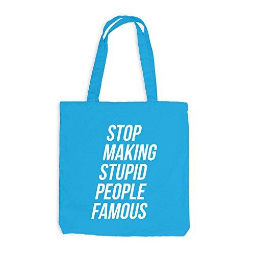 Jutebeutel - Stop making stupid people famous - Fun Style Surfblau