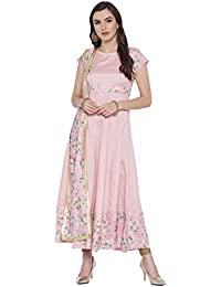 b4afd18a46c Ahalyaa Anarkali Kurta Dress with Attached Floral Dupatta & Gold Scallop  Highlights