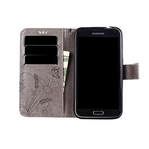 Hülle für Samsung Galaxy S5, Tasche für Samsung Galaxy S5 Neo, Case Cover für Samsung Galaxy S5, ISAKEN Blume Schmetterling Muster Folio PU Leder Flip Cover Brieftasche Geldbörse Wallet Case Ledertasc Sonnenblume Schmetterling Grau