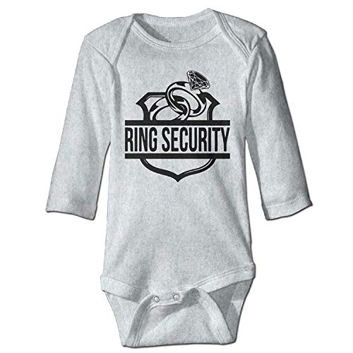 MSGDF Unisex Newborn Bodysuits Ring Security Boys Babysuit Long Sleeve Jumpsuit Sunsuit Outfit Ash