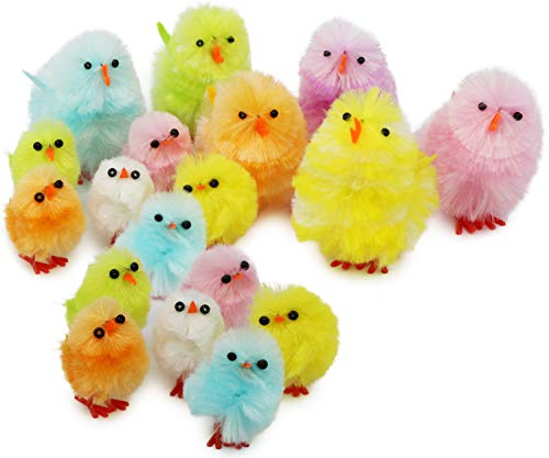 COM-FOUR® 18 Pulcini ciniglia in Diverse Misure, Decorazione per Pasqua in Colori Vivaci (018 Pezzi - Pulcini Colorati)