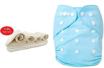 HOUSE OF QUIRK Adjustable Reusable Baby Washable Cloth Diaper Nappies with Wet-Free Inserts, 0-2 years (Blue)