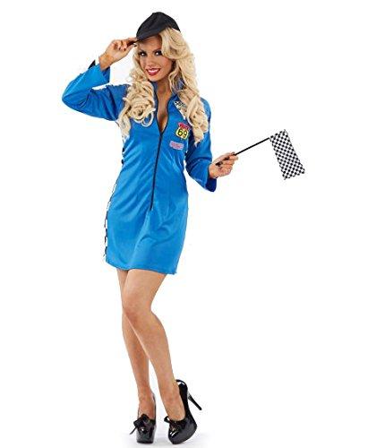 Partychimp 6079970 - Racer Girl mit 2 Zubehörteilen, M, blau