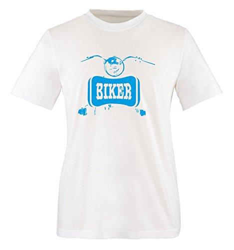 Comedy Shirts - BIKER - Herren T-Shirt - Weiss / Blau Gr. (Grau Bart Schwarz Biker Schnurrbart Und Und)