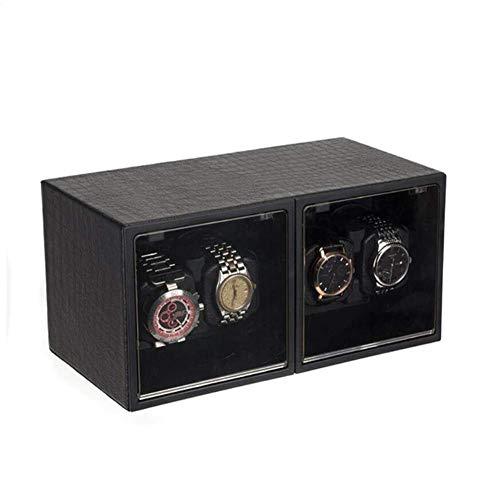 GUOOK 4 + 0 Uhren Automatik Uhrenbeweger Leise Motoren Handgefertigter Holzkoffer Klavierlack Schwarz Glanz Antimagnetisch-30 & Times; 16 & Times; 15.5CM