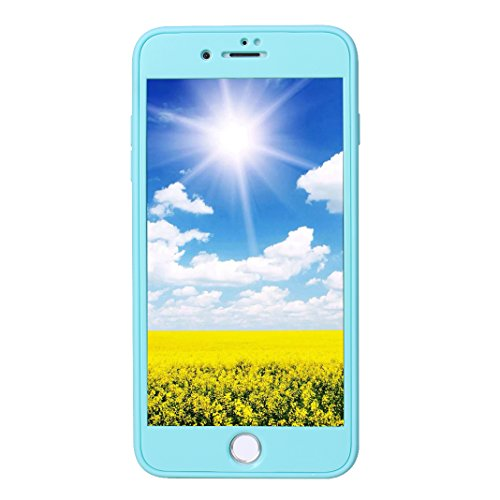 iPhone 7 Plus Fullbody Hülle, iPhone 8 Plus Fullbody Hülle, iPhone 7 Plus 3 in 1 Hülle, iPhone 8 Plus 3 in 1 Hülle, Moon mood® 3 in 1 Kratzfeste Kunststoff Rückseite Case Bumper Tarnung Rüstung Vertei B Blau