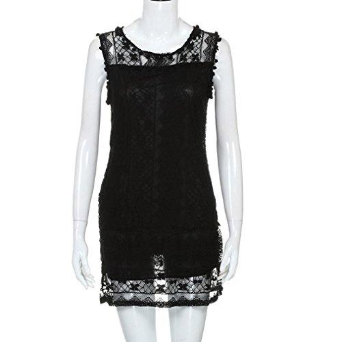 feiXIANG Donna senza maniche abito estivo vestito Vestiti Senza Maniche  Abito Cerimonia Elegante Corti In Pizzo Palla Allentato Vestito Corte Dress  Per ... ad9546479fb