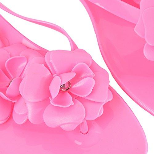 Vertvie Mädchen Damen Süße Sommer Hausschuhe Badeschuhe Komfort Kamelie Blumen mit Strass flache Sandalen Flip-Flops Pantoffeln Zehntrenner Strandschuhe Fuchsie