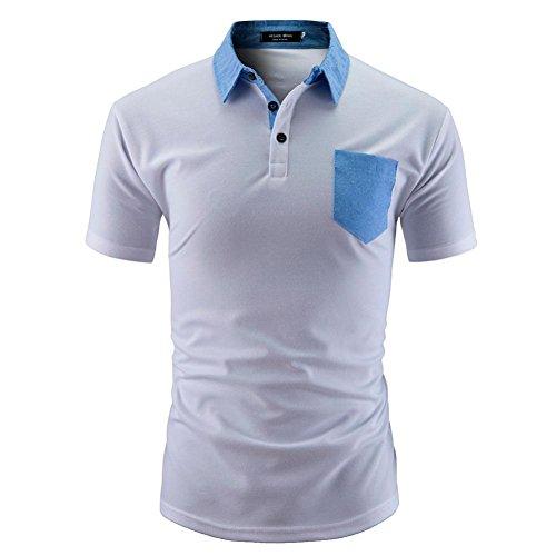 VEMOW Sommer Männer Hemd Mode Einfarbig Männlichen Casual Täglichen Business Workout Kurzarm Shirt T-Shirts Pulli Tees(Weiß 3, EU-56/CN-2XL)