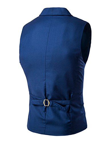 Boom Fashion Mode Gilet Veston Veste Costume Sans Manches Slim Homme Branché Double Bouton Blau