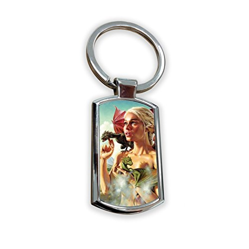 Game of Thrones Fantasy Got Serie TV USA zeigen Schlüsselanhänger Metall Charm Anhänger Schlüssel Ring Schlüsselanhänger Bag Tag Schlüsselanhänger–Daenerys Targaryen Queen Dany stormborn Mutter (Billig Outfits School Girl)