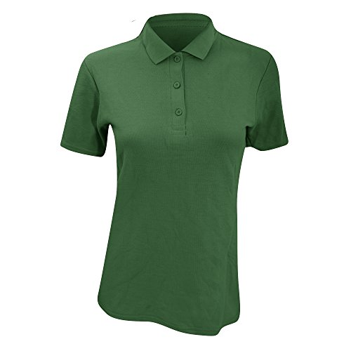 Anvil Damen Polo Shirt Double Pique, Semi-Fitted (XL) (Waldgrün) (Polo Shirt Anvil Short Sleeve)