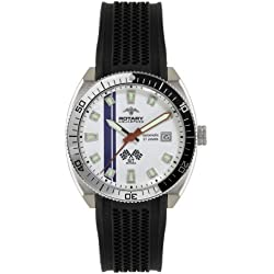 Rotary Men's Automatic Watch with White Dial Analogue Display and Black Rubber Strap AGS90080-W-06