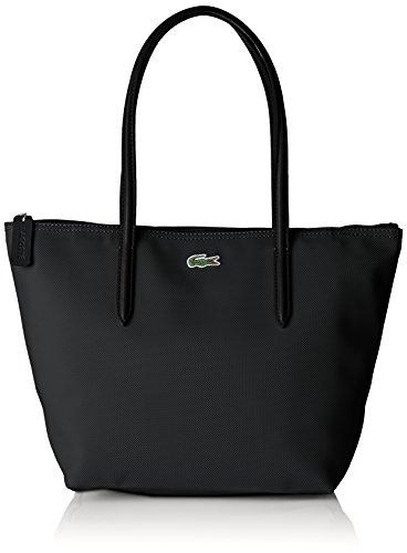 Lacoste Sac Cabas Cuir Femme, Bandouliere, Noir (Black), 14.5x24.5x23.5 cm (W x H x L)