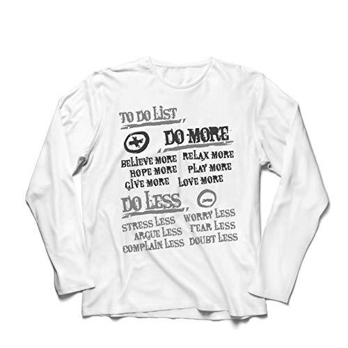 lepni.me Langarm Herren T Shirts Liste zu tun - mehr tun und weniger, glückliches Leben Zitate (Large Weiß Mehrfarben) -