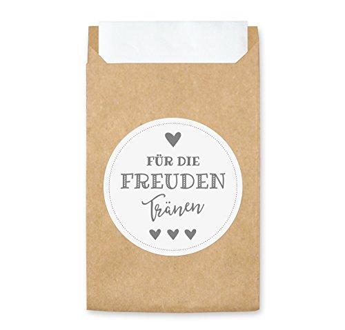 100 Freudentränen Geschenktüten & Sticker (weiß/grau) | vintage Aufkleber und Mini Papiertüten | wunderbare umweltfreundliche Flachbeutel für Hochzeit Taschentuch (100 Stück, weiß/grau)
