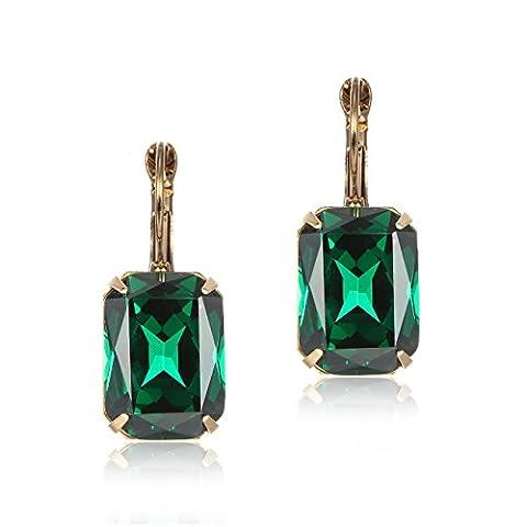 eManco Hebel Zurück Smaragd-Grün Kristall Ohrringe Ohrhänger für Damen Frauen Edelstein Mode (Grüne Braut Schmuck)