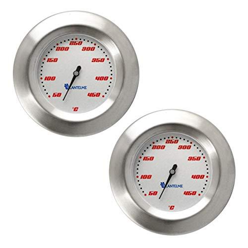 Lantelme 2 Stück Edelstahl Thermometer Grill 50 bis 450 °C Smoker Räucherofen Grillwagen Analog Bimetall BBQ 5148 -