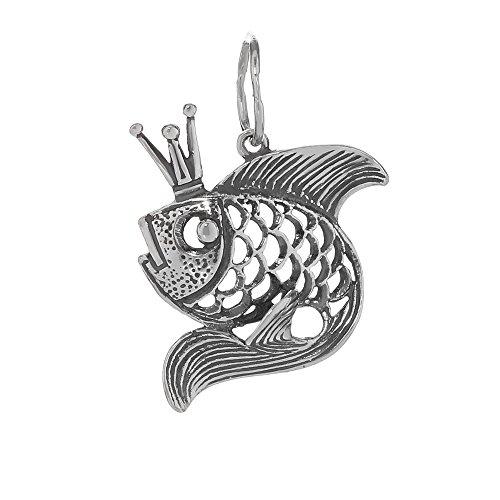 nklaus catene ciondolo in argento Sterling 925Zarin pesci regina con corona queen Fish 6199