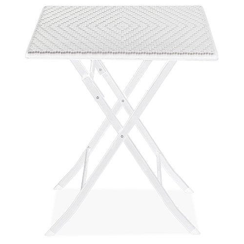 Tavolo 62x62cm in polyrattan e acciaio richiudibile pieghevole picnic casa 50007
