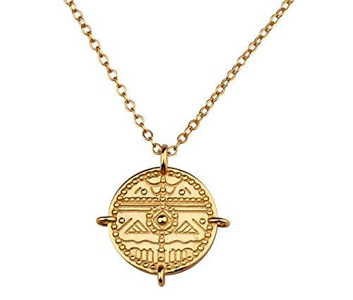 Kette Damen oder Medaillon mit Anhänger. Modisches Amulett aus 925 Sterling Silber mit 14K Gold Plattierung. Länge der Halskette Damen 45+5cm. Gold Kette designed in Deutschland. (Gold)