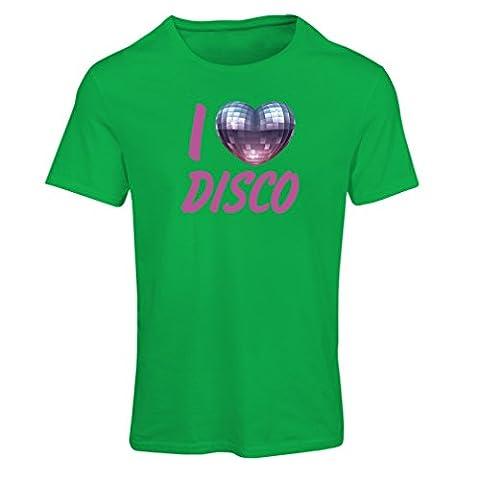 T-shirt femme I Love Disco - vêtements de musique rétro (Large Vert Multicolore)