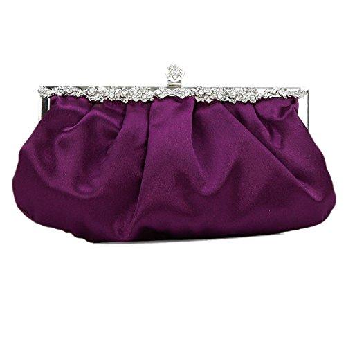 Womens Seta Borsetta In Raso A Pieghe Frizione Della Borsa Da Sposa Da Sera Di Promenade Purple