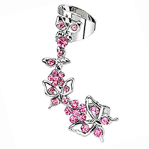 Piersando Tragus Piercing Helix Ohr Cartilage Knorpel Stab Stecker klemme Ear Cuff Fake Ring Schmetterling mit Kristall rechtes Pink (Set Und Mit Kette Cuff Ohrring)