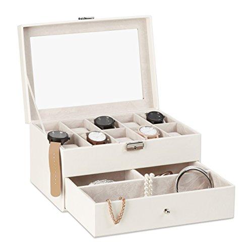 Relaxdays Uhrenbox f. 10 Uhren, abschließbarer Kunstleder Uhrenkasten, Uhrenkoffer m. Glasdeckel u. Uhrenkissen, weiß