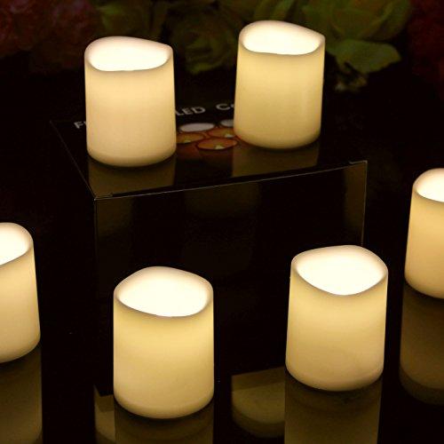 6 velas de pilar LED de 5 cm de batería operado parpadeo de la llama de la luz votiva para la iglesia casero evento de boda por PK Green
