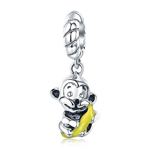 Affe mit Banane Tier-100% 925Sterling-Silber mit Motiv Affe & Banane Love Charm für Charm Armband Armreif Schmuck basteln