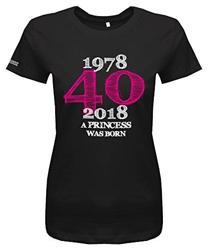 (Jayess 1978-2018 - a Princess was Born - 40. Geburtstag - Damen T-Shirt in Schwarz by Gr. L)