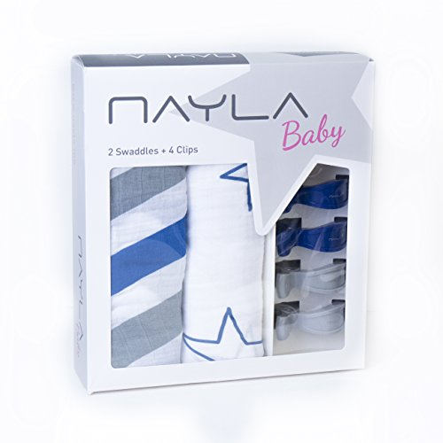 Nayla Baby Set Mulltücher und Clips, Stars & Stripes Boy Blau