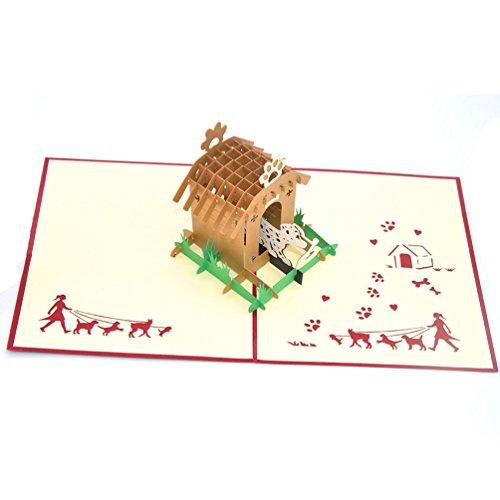 Medigy 3D POP UP Grußkarte Handgemacht Blume Korbp Hundehaus und Hund Blanko-Karten Segen Papier Klappkarten Business Geschenkkarte Glückwunschkarten