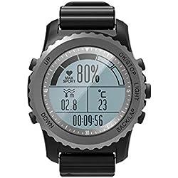 YHFGHH-652234 GPS Smart Watch IP68 Étanche Moniteur de Fréquence Cardiaque Sport Montre-Bracelet Podomètre Natation Hommes en Plein Air